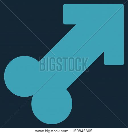 Male Sexual Symbol vector icon. Style is flat symbol blue color rounded angles dark blue background.