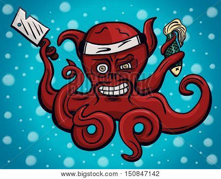 Crazy chief octopus in hachimaki Japanese headband with cook's knife and dead fish in its tentacles