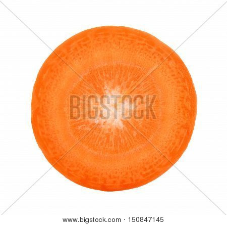 Slice Of Carrot Isolated On The White Background