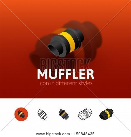 Muffler color icon, vector symbol in flat, outline and isometric style isolated on blur background