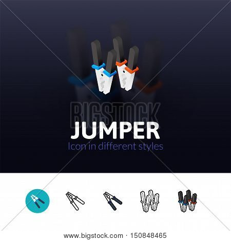 Jumper color icon, vector symbol in flat, outline and isometric style isolated on blur background