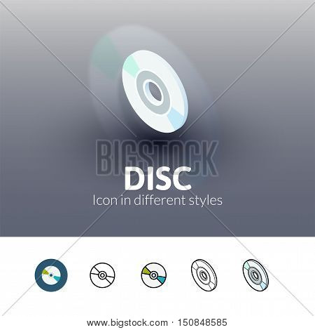 Disc color icon, vector symbol in flat, outline and isometric style isolated on blur background