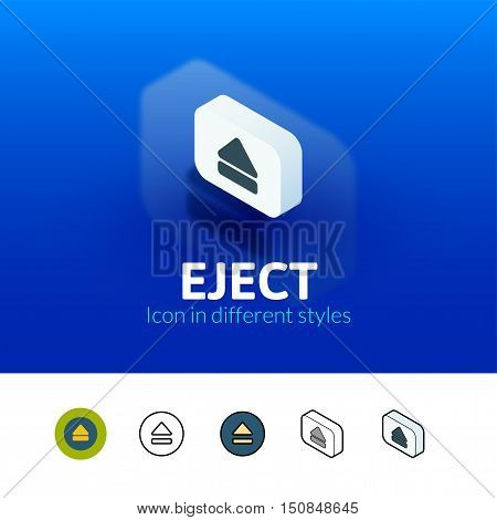 Eject color icon, vector symbol in flat, outline and isometric style isolated on blur background