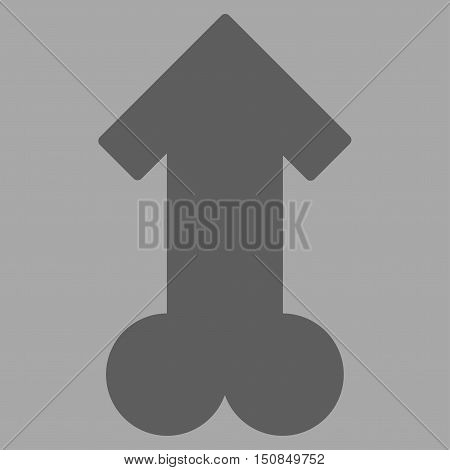 Male Sexual Potence vector icon. Style is flat symbol, dark gray color, rounded angles, silver background.