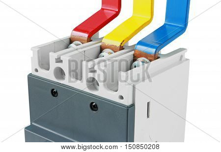 Copper Busbar Connection Circuit Breaker isolated on white background