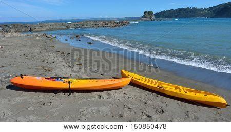 Yellow Kayas In Matheson Bay New Zealand