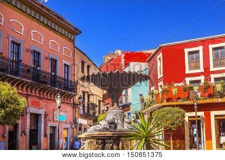 Plaza Del Baratillo Baratillo Square Fountain colorful buildings Guanajuato Mexico