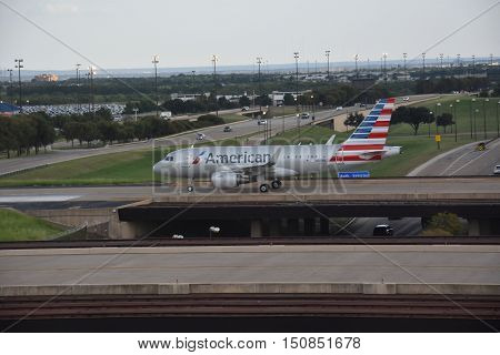DALLAS, TX - SEP 18: American Airlines at Dallas-Fort Worth International Airport in Texas, on Sep 18, 2016. It is the worlds largest airline measured by fleet size and revenue.