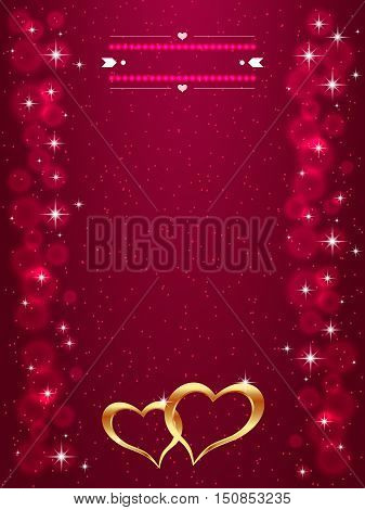 Bright Valentine s day background with golden hearts. Bright gold hearts on the red background. Vector illustration.