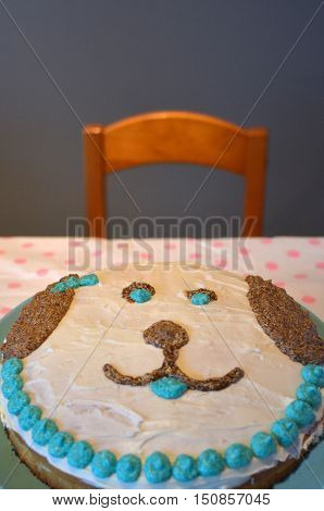 Homemade Birthday Cake In A Shape Of A Dog Face