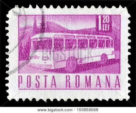 ROMANIA - CIRCA 1967 : Cancelled postage stamp printed by Romania, that shows Bus.