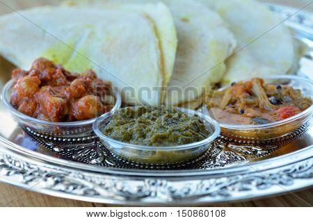 Indian Food, Masala Dosa With Sambar And Channa Masala