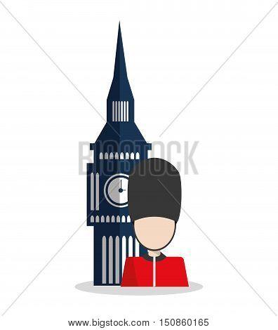 Big ben and soldat icon. London england landmark and tourism theme. Colorful design. Vector illustration