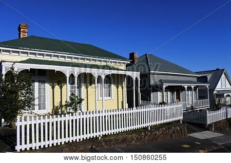 Three Victorian houses in Auckland New Zealand