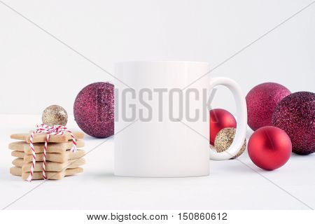 Christmas mock up styled stock product image Christmas scene with a white blank coffee mug that you can overlay your custom design or quote on to.