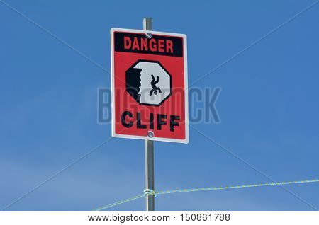 Danger Steep Cliff Sign Background