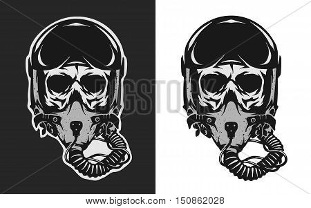Skull in combat pilot helmet two versions.