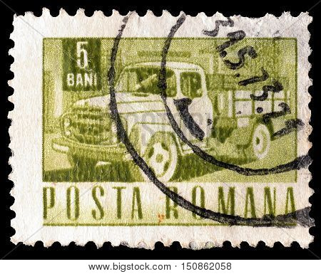 ROMANIA - CIRCA 1967 : Cancelled postage stamp printed by Romania, that shows Truck.