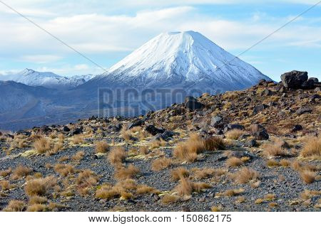 Landscape Of Mount Ngauruhoe In Tongariro National Park