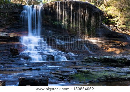 Panorama Of Weeping Rock Falls, Waterfall Landscape