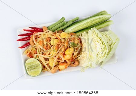 Spicy papaya salad with mixed vegetable call