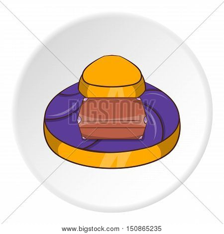 Luggage conveyer at the airport icon in cartoon style isolated on white circle background. Check symbol vector illustration