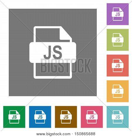 JS file format flat icon set on color square background.