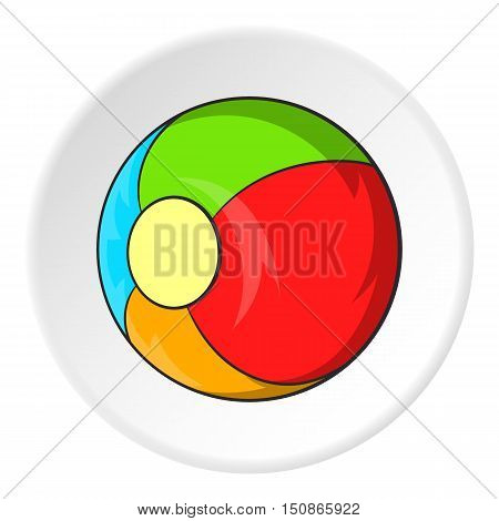 Childrens ball icon in cartoon style isolated on white circle background. Games and toys symbol vector illustration