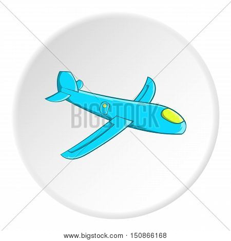 Childrens plane icon in cartoon style isolated on white circle background. Games and toys symbol vector illustration