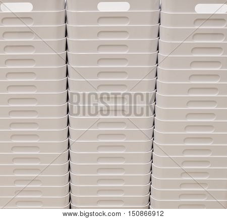 Stack of Empty White Plastic Buckets or Garbage Bin Wastebin Recycling Bin.