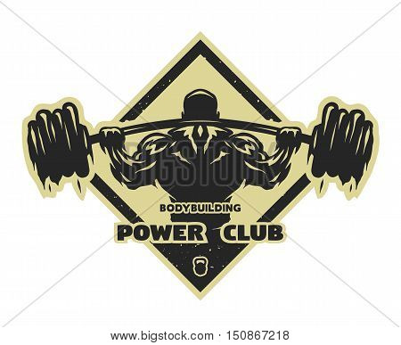 Bodybuilder with a barbell Label emblem t-shirt design.