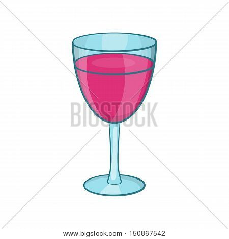 Glass of red wine icon in cartoon style isolated on white background vector illustration