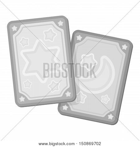 Tarot cards icon in monochrome style isolated on white background.   white magic symbol vector illustration.