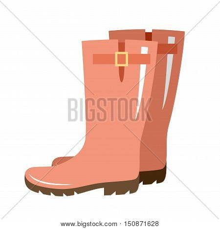 Vector gumboots of red color. Vector illustration