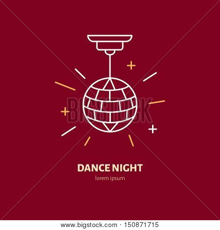 Disco ball symbol retro dance party. Modern vector thin line icon of dancing night. Linear pictogram for music event, club. Pictogram for banner web site.
