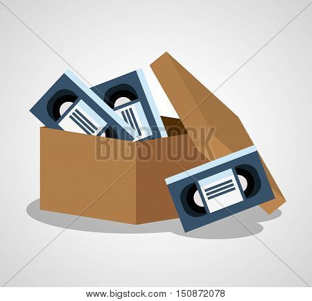 Vhs and box icon. Cinema movie video and film theme. Isolated design. Vector illustration