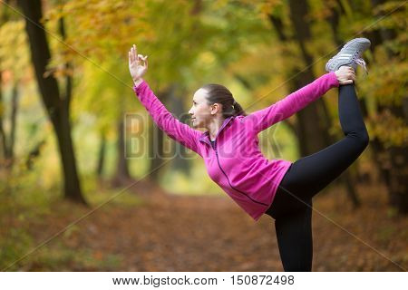 Sporty beautiful happy young woman practicing yoga, standing in Natarajasana, Lord of the dance pose, working out outdoor on autumn day wearing sportswear sweatshirt. Side view portrait
