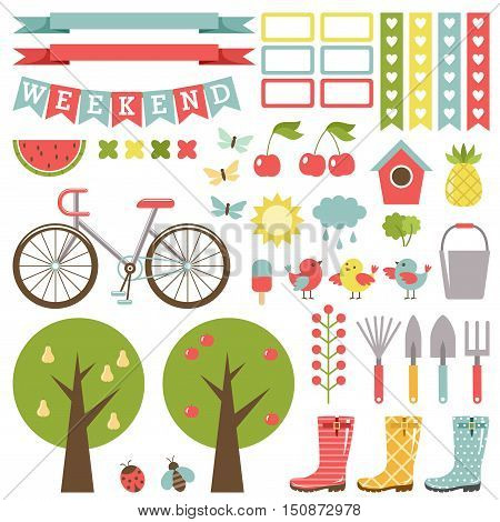 Cute gardening set. Stickers. Gumboots bicycle and fruit-trees. Vector