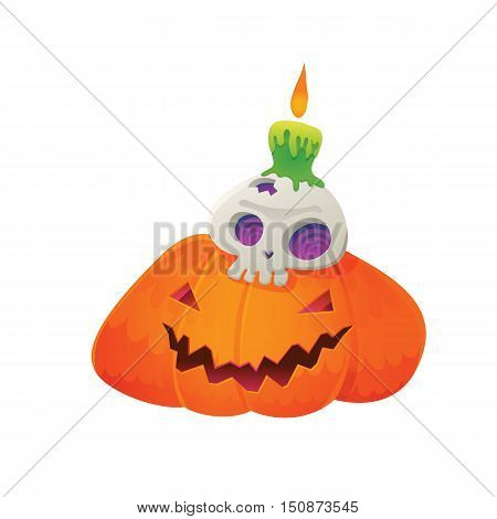 Vector Illustration of Jack-O'-Lantern with Skull and Green Candle for Halloween