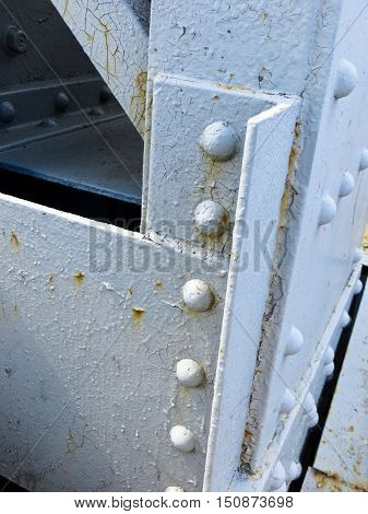 Close of the rivets on a bridge. Architectural detail