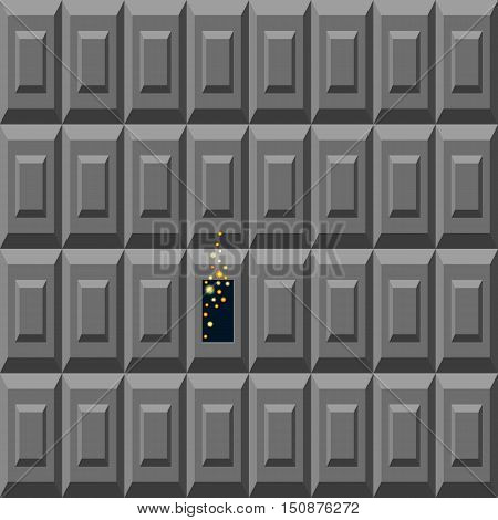 Sparckles among the gray blocks. Representation of creative business concept. Freedom and escape the system idea. Vector illustration