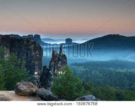 Autumn Evening Panorama View Over Sandstone Rocks To Fall Valley Of Saxony Switzerland.