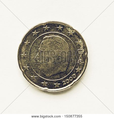 Vintage Belgian 20 Cent Coin