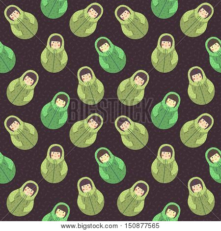 Modern cute and funny cartoon naive brown hair russian doll pattern. In brown and green colors.