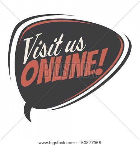 visit us online retro speech balloon