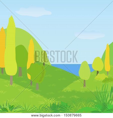 Vector autumn landscape with hills trees and river. Illustration autumnal park forest.