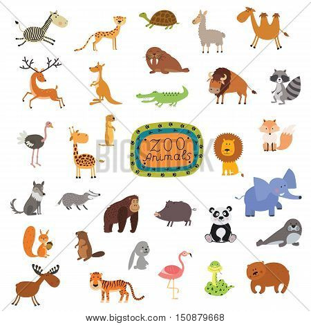 Big vector set of animals isolated on a white background. illustration for the children