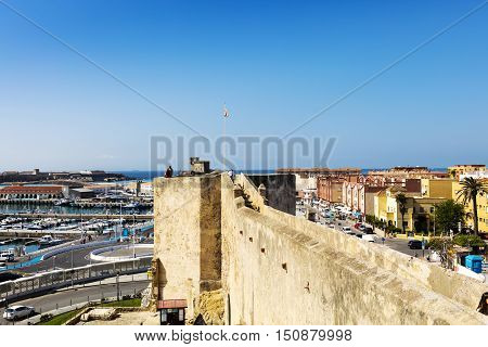 Panoramic view of The Port of Tarifa (Spanish: Puerto de Tarifa) and the historic medieval The Castle of Guzman El Bueno in Tarifa, Spain originally built as an alcazar (Moorish fortress).