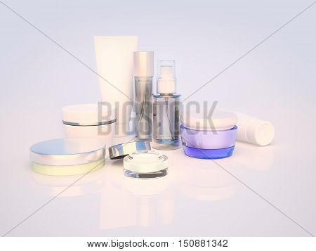 Daily beauty care cosmetic. Face cream eye cream serum and lip balm. Skin care. 3D illustration poster