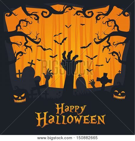 Scary Vintage Happy Halloween Card And Banner